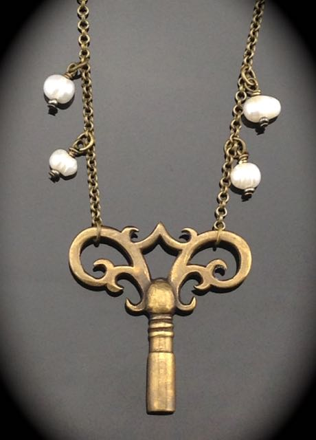 Antique Clock Key Necklace - brass gloriously ornate w/ pearls