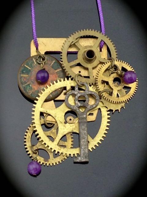 kinetic steampunk necklace w antique clock gears